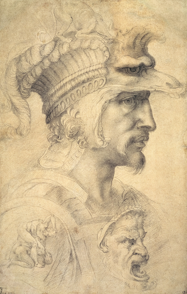 Ideal head of a warrior (black chalk on paper) mural wallpaper