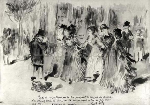 Illustration for LAssommoir (1876-77), by Emile Zola (1840-1902), page 453 (wash on paper) (b/w photo) wallpaper mural