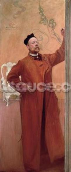 In Front of the Mirror: Self Portrait, 1900 mural wallpaper
