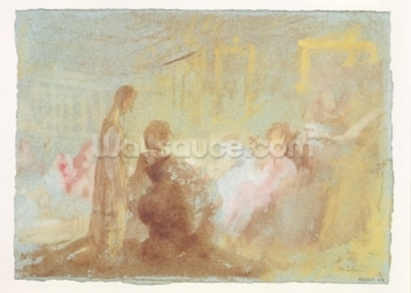 Interior at Petworth House with people in conversation, 1830 (gouache) wallpaper mural