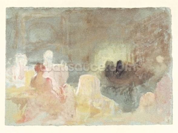 Interior at Petworth with a seated woman, 1830 (w/c) wall mural