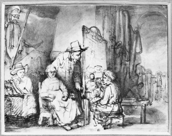 Interior of a studio with a painter painting the portrait of a couple (pen, ink, bistre & wash on paper) (b/w photo) mural wallpaper