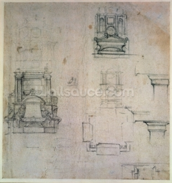 Inv. 1859 6-25-545. R. (W. 25) Designs for tombs (red chalk) wallpaper mural