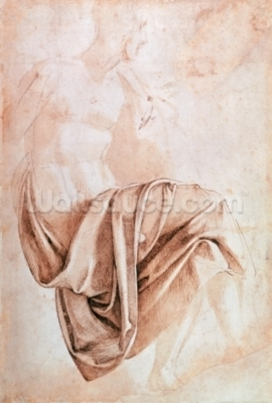 Inv. 1887-5-2-118 Recto (W.10) Study of drapery (drawing) wall mural