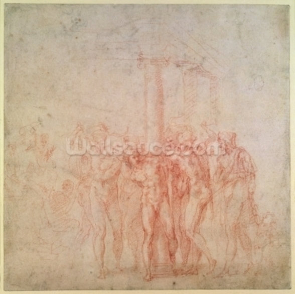 Inv. 1895 6-15-500. R. (W.15) The Flagellation of Christ (red chalk on paper) wall mural