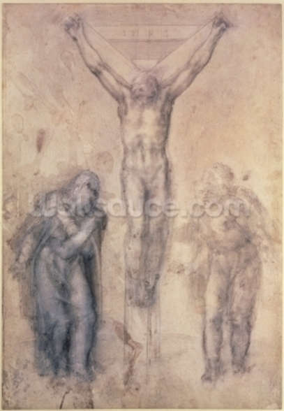 Inv.1895-9-15-509 Recto W.81 Study for a Crucifixion (pencil & chalk on paper) wall mural