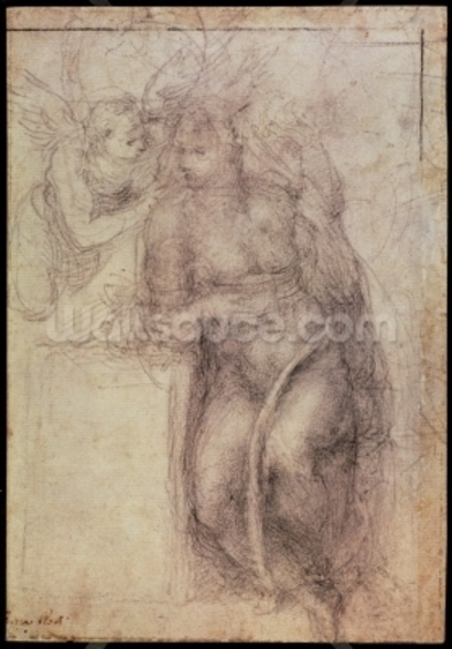 Inv.1895-9-15-516.recto (w.72) Study for the Annunciation (black chalk on paper), 1547 mural wallpaper