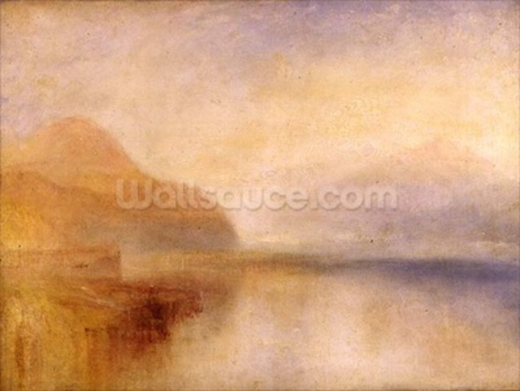 Inverary Pier, Loch Fyne, Morning, c.1840-50 (oil on canvas) wall mural