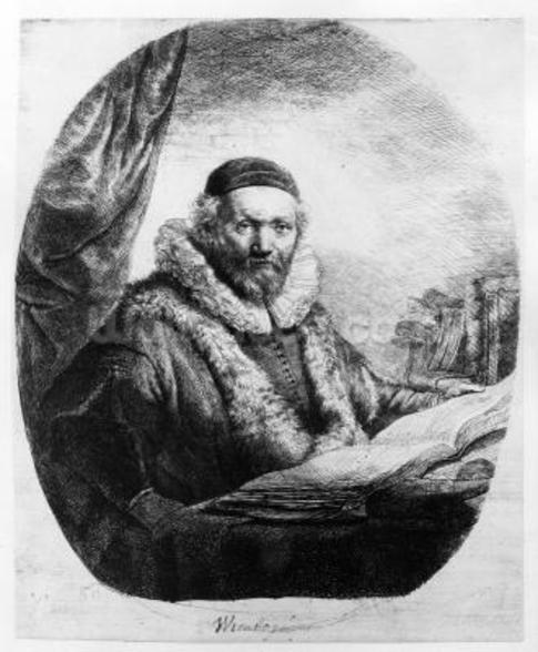 Jan Uytenbogaert, Preacher of the Remonstrants, 1635 (etching) mural wallpaper