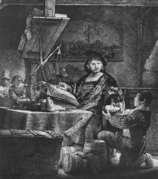 Jan Uytenbogaert The Goldweigher, 1639 (etching & drypoint) wall mural