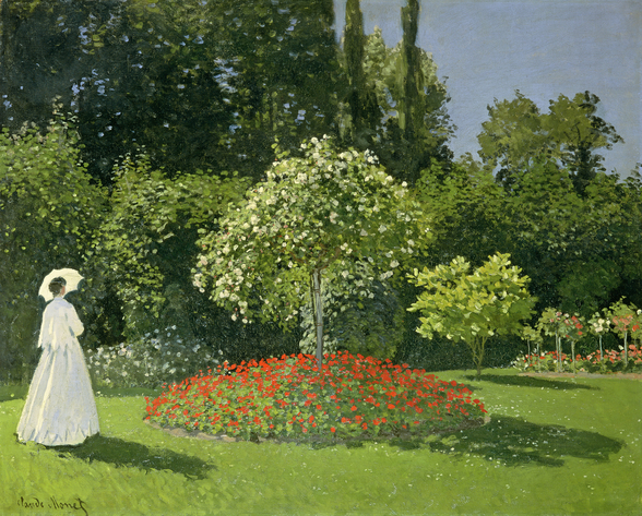 Jeanne Marie Lecadre in the Garden, 1866 (oil on canvas) mural wallpaper