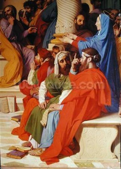 Jesus Among the Doctors, detail of the doctors and the Virgin Mary, 1862 (oil on canvas) mural wallpaper