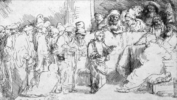 Jesus Christ among the Doctors (etching) (b/w photo) wall mural