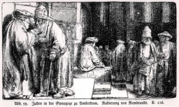 Jews in the Synagogue in Amsterdam, engraved by the artist (b/w photo) wall mural