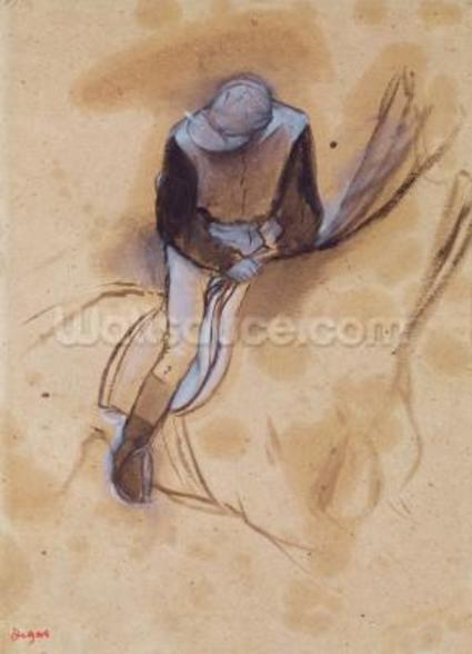 Jockey flexed forward standing in the saddle, 1860-90 (pastel & charcoal on paper) wallpaper mural