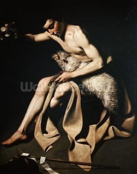 John the Baptist playing with a lamb (oil on canvas) wallpaper mural