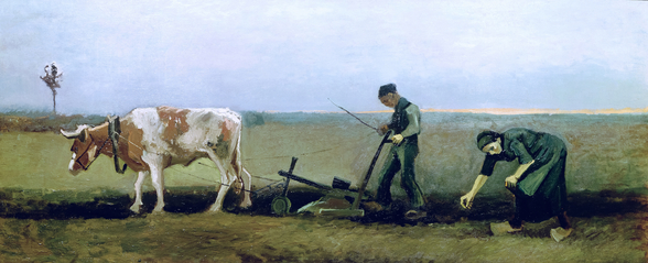 Labourer and Peasant Planting Potatoes, 1884 (oil on canvas) wall mural