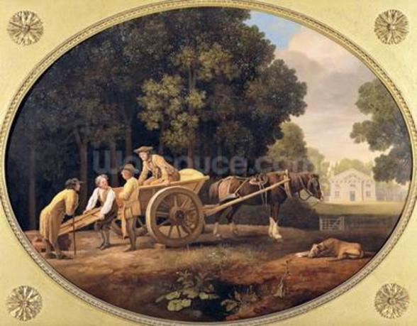 Labourers, 1781 (enamel on Wedgwood biscuit earthenware) mural wallpaper