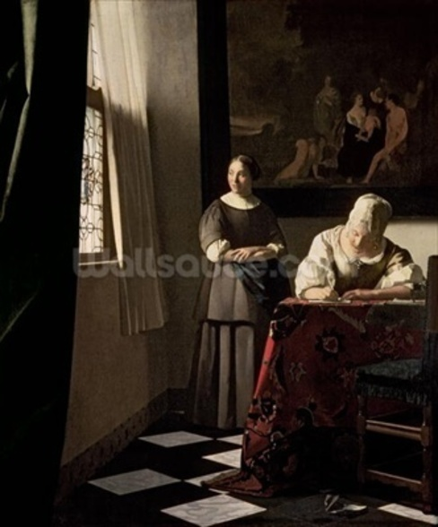 Lady writing a letter with her Maid, c.1670 (oil on canvas) wall mural