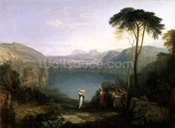 Lake Avernus: Aeneas and the Cumaean Sibyl, c.1814-5 (oil on canvas) wallpaper mural