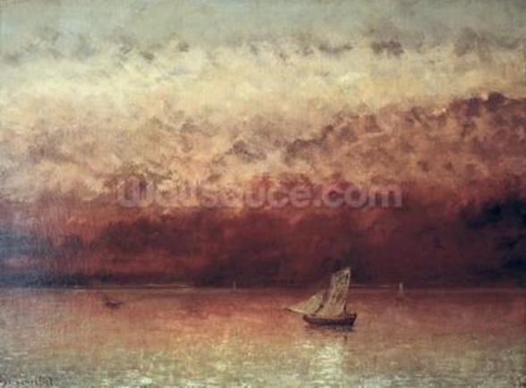 Lake Leman with Setting Sun, c.1876 (oil on canvas) wallpaper mural