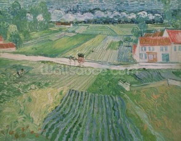 Landscape at Auvers after the Rain, 1890 (oil on canvas) wallpaper mural