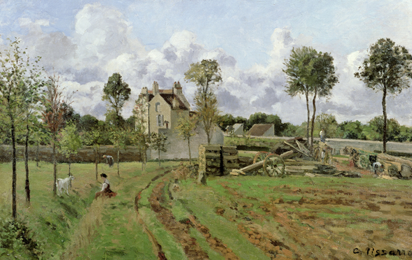 Landscape, Louveciennes, c.1872 (oil on canvas) wallpaper mural
