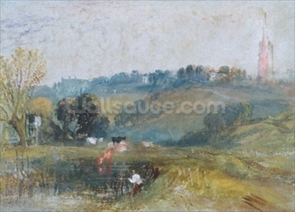 Landscape near Petworth, c.1828 (gouache) wallpaper mural