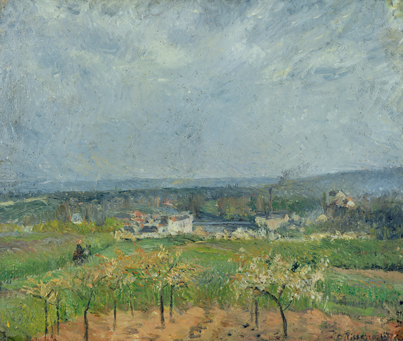 Landscape in Pontoise, 1877 (oil on canvas) wallpaper mural