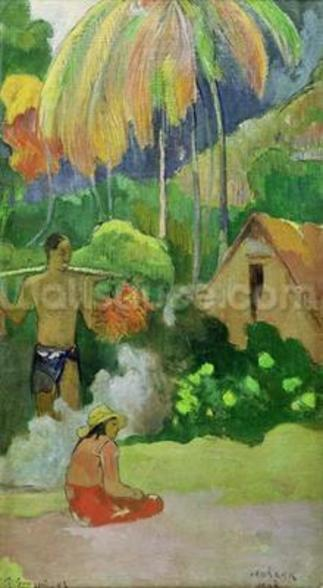 Landscape in Tahiti (Mahana Maa) 1892 (oil on canvas) wallpaper mural