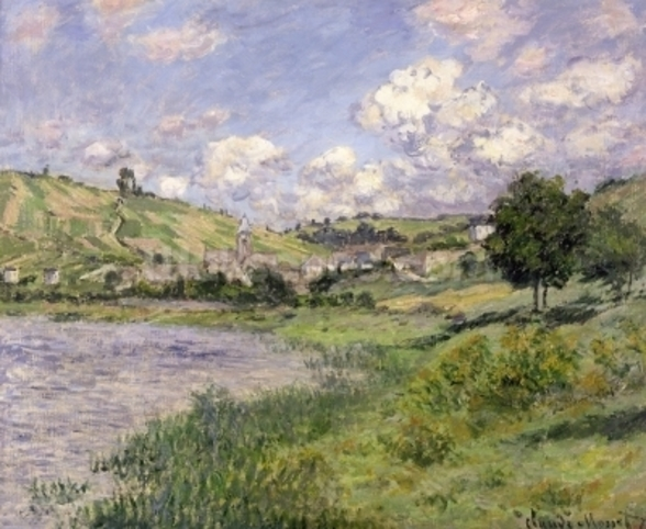 Landscape, Vetheuil, 1879 (oil on canvas) wallpaper mural