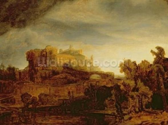 Landscape with a Chateau (oil on panel) wallpaper mural