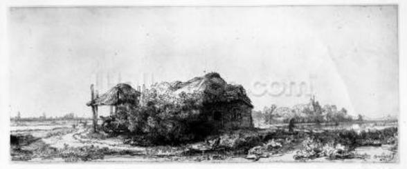 Landscape with a Cottage and Haybarn, etched by James Bretherton (etching) wallpaper mural