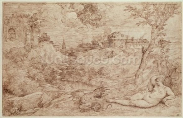 Landscape with a Dragon and a Nude Woman Sleeping (pen & ink and wash on paper) wall mural
