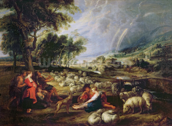 Landscape with a Rainbow (oil on canvas) wall mural