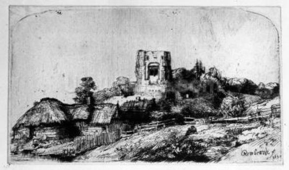 Landscape with a Tower, 1650 (etching) mural wallpaper