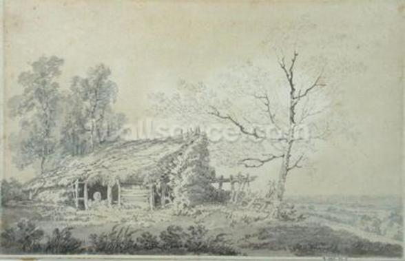 Landscape with Barn, c.1795 (graphite & wash on paper) mural wallpaper