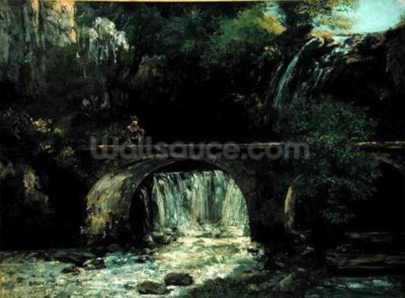 Landscape with bridge (oil on canvas) mural wallpaper