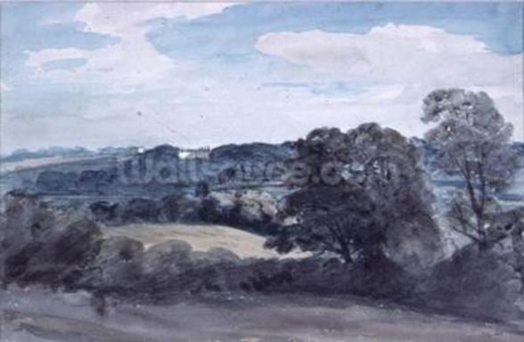 Landscape with Buildings in the distance (watercolour) mural wallpaper