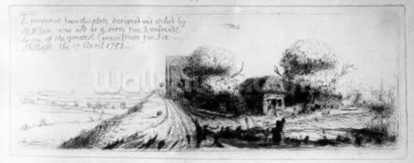 Landscape with country lane and cottages, etched by Benjamin Wilson, 1751 (etching) wall mural
