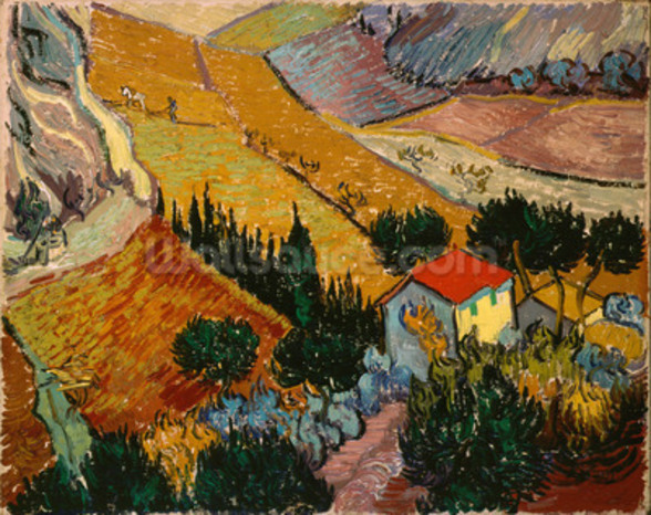 Landscape with House and Ploughman, 1889 (oil on canvas) mural wallpaper
