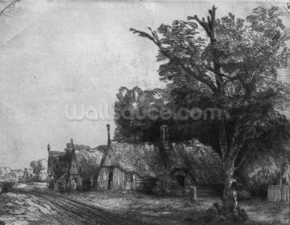 Landscape with Three Cottages, 1650 (etching) (b/w photo) mural wallpaper