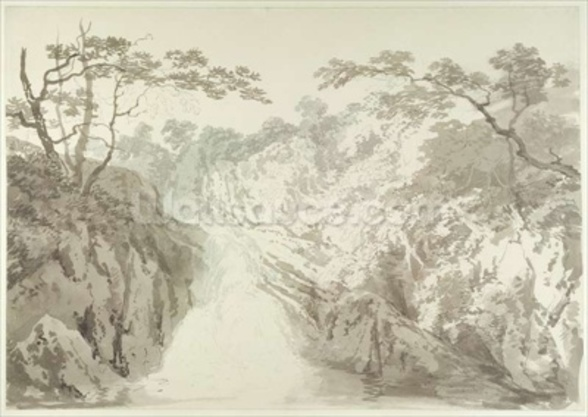 Landscape with Waterfall, c.1796 (graphite and wash on paper) wall mural