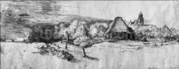 Large Landscape with a Tower, c.1650 (etching) (b/w photo) wall mural