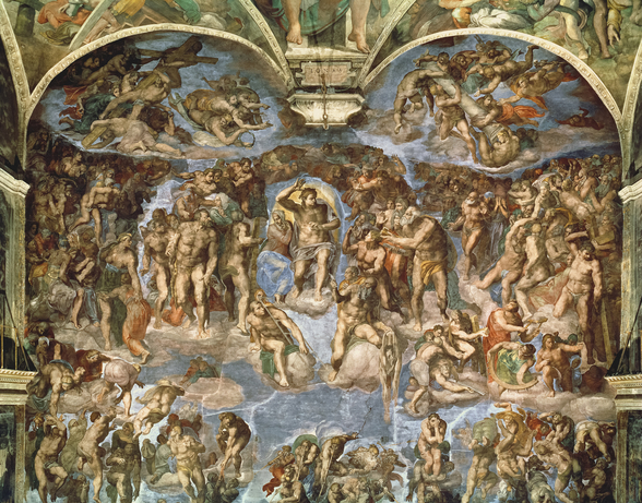 Last Judgement, from the Sistine Chapel, 1538-41 (fresco) wall mural