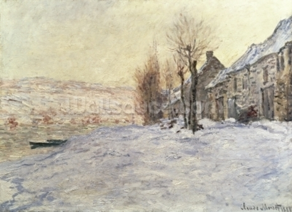 Lavacourt under Snow, c.1878-81 (oil on canvas) wall mural