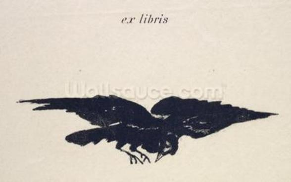 Le Corbeau (The Raven), 1875 (litho) mural wallpaper