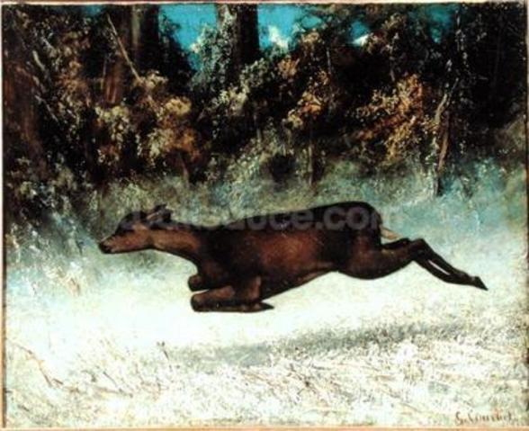 Leaping Doe (oil on canvas) wall mural
