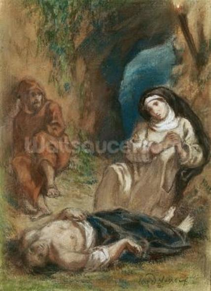 Lelia in the Cave, from Lelia by George Sand (1804-76) c.1852 (pastel on paper) wall mural