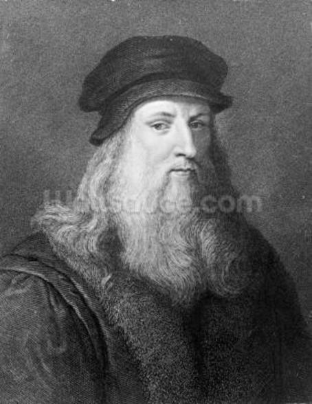 Leonardo da Vinci, engraved by Raphael Morghen, 1817 (engraving) (b/w photo) wall mural